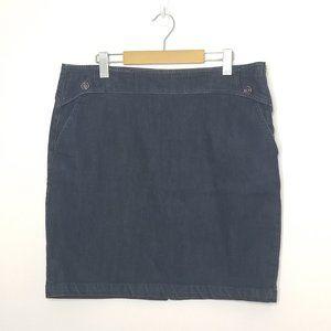 Denim Skirt   Dark Wash Mini Side Zip Plus Size 16